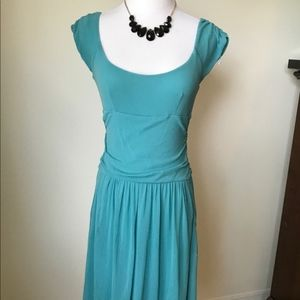 Anthropologie Teal Scoop Neck Dress with Pockets